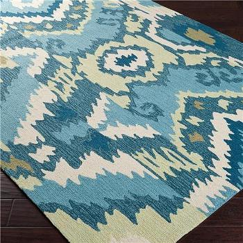 Ikat Patchwork Hooked Rug, Shades of Light