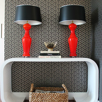 Lauren Nelson Design - entrances/foyers - white, console, table, glossy, red, lamps, black, geometric, wallpaper, woven, basket, white lacquer console table, white console table, white foyer table, red lamps, red table lamps, red lamps with black shades,
