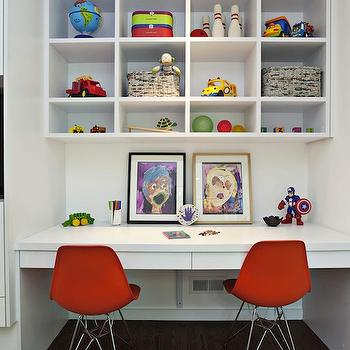 Fiorella Design - boy's rooms - white, built-in, floating desk, white, built-in, cubbies, ivory, black, rug, built-in desk, boys built-in desk, floating desk, shared desk, floating desk, cabinets over desk, open cabinets over desk, open cabinets above desk, above desk cabinets, over desk cabinets, open shelving over desk, open shelving above desk, Eames Molded Plastic Side Chair,