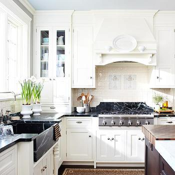 BHG - kitchens - gray, walls, off-white, kitchen cabinets, soapstone, countertops, farmhouse, soapstone, soapstone countertops, soapstone sink, soapstone kitchen sink,