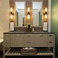 Fiorella Design - bathrooms - pebble, tiles, backsplash, taupe, gray, double bathroom vanity, mirrors, double sinks, grey double vanity, grey double washstand, grey double bathroom vanity, Restoration Hardware Cade Double Sconce - Oil-Rubbed Bronze, Walker Zanger Zen Garden Timore Tiles,