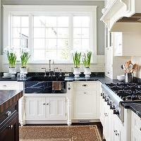 BHG - kitchens - gray, walls, off-white, kitchen cabinets, soapstone, countertops, farmhouse, soapstone, sink, soapstone countertops, soapstone sink, soapstone kitchen sink, white cabinets with soapstone countertops, white kitchen cabinets with soapstone countertops,