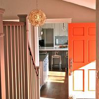 Fiorella Design - entrances/foyers - gray, walls, orange, door, Viva Terra Lotus Flower Chandelier,  Fantastic foyer with gray walls paint color,