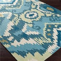 Rugs - Ikat Patchwork Hooked Rug - Shades of Light - ikat, patchwork, hooked, rug