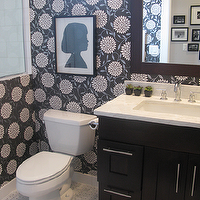 Alexandra Berlin Design - bathrooms - marble, basketweave, tiles, floor, blue, black, peonies, wallpaper, ebony, stained, single, bathroom cabinet, silhouette, art over toilet, art above toilet, black and white powder room, silhouette art,