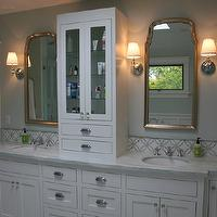 Fiorella Design - bathrooms - skylight, silver, mirrors, built-in, medicine, cabinet, gray, green, walls, white, double bathroom vanity, marble, countertop, marble, tiles, floor, Walker Zanger AKDO Imperial Thassos Tiles,