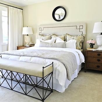 Kerrisdale Design - bedrooms - black, convex, mirror, yellow, gray, pillows, alabaster, urn, lamps, urn lamps, alabaster lamps, alabaster table lamps, alabaster urn lamps, Serena & Lily Octavia Headboard, Restoration Hardware Directoire Closed Nightstand, Kravet Latika Limestone,