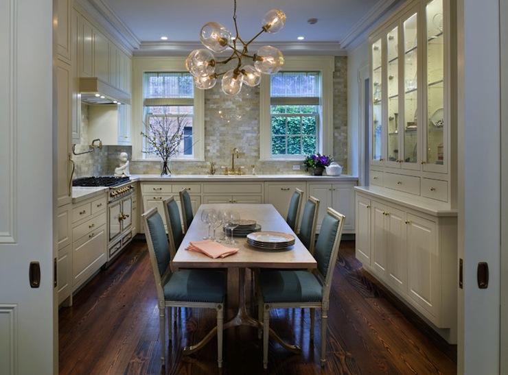 Glass orb chandelier transitional kitchen jennifer for Greek kitchen designs