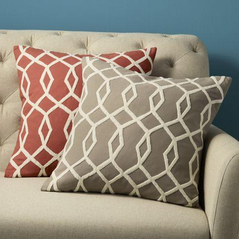 Embroidered Diamond Links Pillow Cover west elm