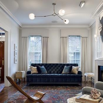 Tufted Velvet Sofa, Contemporary, living room, Jennifer Eisenstadt