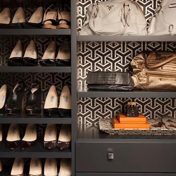 Jennifer Eisenstadt - closets - black, built-ins, shoe, shelves, shoe cabinet, shoe cabinet, shoe shelves, shelves for shoes, shoe storage, closet shoes, shoe closet, closet shoe shelves, shoe racks, closet shoe racks, built in shoe rack,