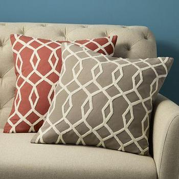Embroidered Diamond Links Pillow Cover, west elm