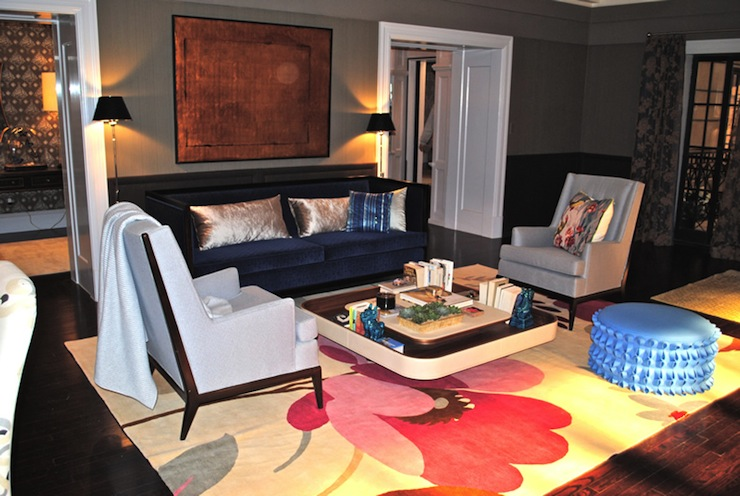 Suzie: Marks & Frantz - SATC living room with two-tone walls, wainscoting, royal blue velvet ...