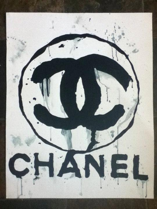 Art/Wall Decor - CHANEL Splatter Painting 28x22 by HausOfHammer on Etsy - chanel, splatter, painting