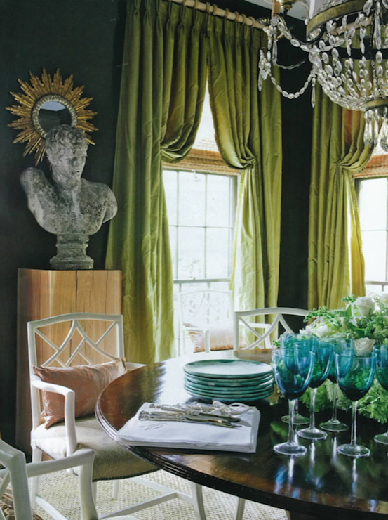R Higgins Interiors - dining rooms - dark, teal, blue, walls, silk, pinch-pleat, green, drapes, crystal chandelier, round, dining table, white, lattice, chairs, green curtains, green drapes, green window panels, green silk curtains, green silk drapes,
