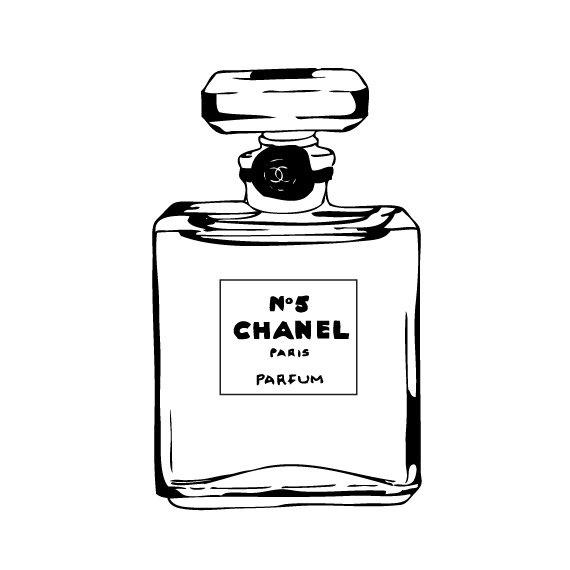 Chanel No5 Illustration Black & White Fashion by CathrynsDesigns