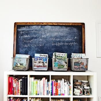 Rue Magazine - dens/libraries/offices - chalkboard, vintage, wire, baskets, black, media, boxes, magazines, glass, canisters, ikea expedit, expedit bookcase, ikea expedit bookcase, white ikea bookcase, white ikea expedit bookcase, Ikea Expedit Bookcase,