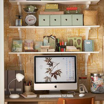 BHG - dens/libraries/offices - nook, lined, wallpaper, gray, magazine, holders, glass, canisters, white, shelves, fabric, swatches, vintage office, vintage office design,