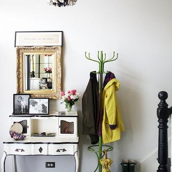 Rue Magazine - entrances/foyers - black, moldings, vintage, green, coat, rack, white, vintage, desk, secretary, gold, rococo, mirror, crown moldings, black crown moldings,