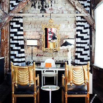 Rue Magazine - dens/libraries/offices - exposed brick wall, gold, rococo, mirror, glossy, black, lacquer, chandelier, glass-top, desk, black, white, geometric, drapes, black and white curtains, black and white drapes, black and white window panels,