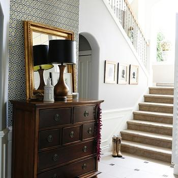 Rue Magazine - entrances/foyers - gold leaf, mirror, copper, tinted, gourd, lamp, vintage, chest, foyer wallpaper, wallpaper for foyer, geometric wallpaper, david hicks wallpaper, David Hicks Hexagon Wallpaper,