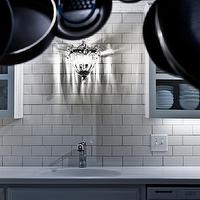 Rue Magazine - kitchens - crystal, sconce, gray, kitchen cabinets, quartz, countertops, subway tiles, backsplash, subway tiles backsplash, subway tiles backsplash, subway tile kitchen, backsplash subway tile,