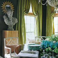 R Higgins Interiors - dining rooms - dark, teal, blue, walls, silk, pinch-pleat, green, drapes, crystal chandelier, round, dining table, white, lattice, chairs,