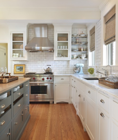 Taste Interior Design - kitchens - blue, gray, kitchen island, storage, butcher block, countertops, white, glass-front, kitchen cabinets, marble, countertops, subway tiles, backsplash, stainless steel, floating shelves, subway tile, subway tiled kitchen, subway tile backsplash, subway tiled kitchen backsplash,