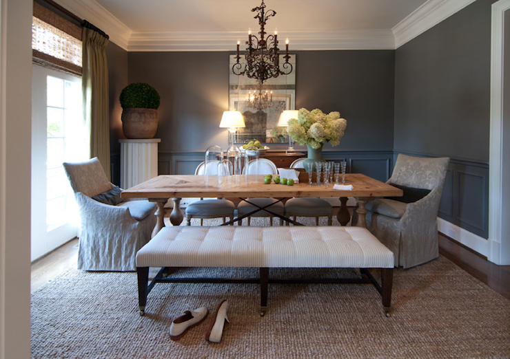 R Higgins Interiors - dining rooms - chair rail, wainscoting, charcoal, gray, walls, trestle, dining table with wood baluster, legs, white, ticking, stripe, bench, gray, damask, slipcover, captain, dining chairs, French, oval back, side chairs, cloches, bamboo, roman shades, silk, pinch-pleat, drapes, seagrass, rug,