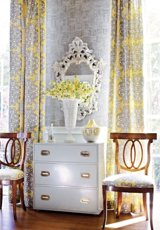 Yellow And Gray Curtains French Living Room Thibaut