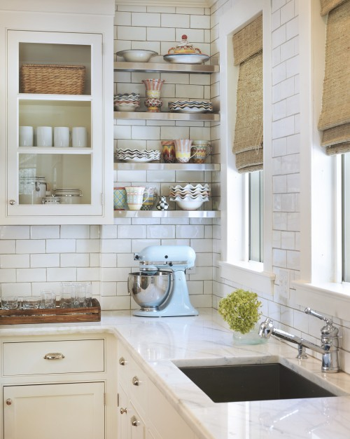 kitchens - bamboo roman shades KitcheAid Mixer baby blue subway tiles backsplash white glass-front kitchen cabinets marble countertops stainless steel floating shelves