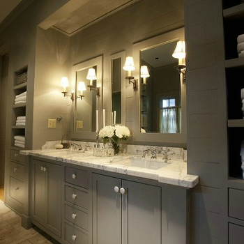R Higgins Interiors - bathrooms - monochromatic, gray, walls, gray, double bathroom vanity, cabinet, marble, countertop, inset, medicine cabinets, travertine, tiles, floor, gray bathroom, gray bathroom cabinets, gray bathroom vanity, gray double bathroom vanity, grey bathroom,