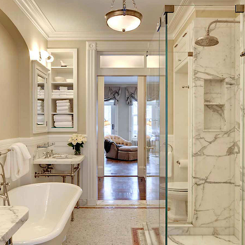 John B Murray Architect - bathrooms - sand, beige, walls, twin, 2 leg, marble, washstands, clawfoot, tub, marble, tiles, floor, decorative, inset, border, tiles, white, inset, medicine cabinets, vintage, glass shelf, built-ins, frameless glass shower, marble, slab, shower, surround, rain, shower head, calcutta marble, calcutta marble shower, calcutta marble shower surround, calcutta marble tile shower, calcutta marble tile bathroom,