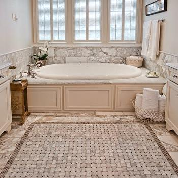 R Higgins Interiors - bathrooms - extra-wide, ivory, single, bathroom vanity, cabinets, beveled, marble, countertops, marble, backsplash, marble, tiles, floor, marble, basketweave, inset, tiles, paneled drop in tub, paneled bathtub, paneled tub,