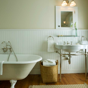 John B Murray Architect - bathrooms - 2 leg, white, porcelain, washstand, beige, walls, beadboard, walls, backsplash, clawfoot, tub, white, inset, medicine, cabinet, clawfoot tub, calwfoot bathtub, clawfoot tub bathroom, clawfoot tub bathroom design, white clawfoot tub, white clawfoot bathtub,