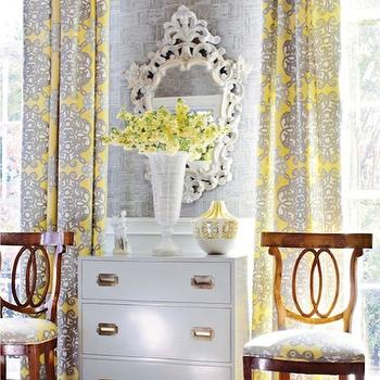 Yellow and Gray Curtains, French, living room, Thibaut Design