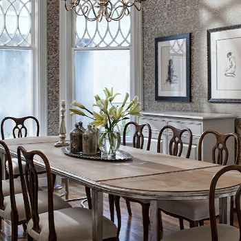 Buckingham Interiors - dining rooms - gray, damask, wallpaper, drop-leaf, dining table, chippendale, chairs, polished nickel, chandelier, swedish chairs, swedish dining chairs,