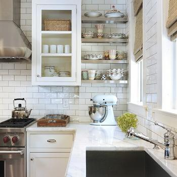 Taste Interior Design - kitchens - bamboo, roman shades, white, kitchen cabinets, marble, countertops, stainless steel, floating shelves, subway tiles, backsplash, subway tile backsplash, white subway tile, subway tile kitchen, white subway tile backsplash, white subway tile kitchen,