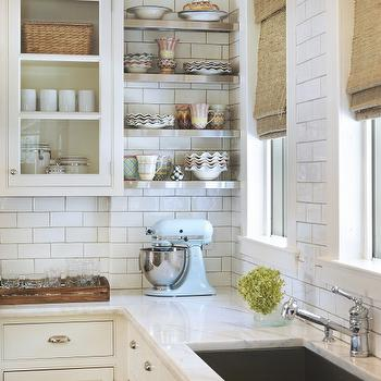 Taste Interior Design - kitchens - bamboo, roman shades, KitcheAid Mixer, baby blue, subway tiles, backsplash, white, glass-front, kitchen cabinets, marble, countertops, stainless steel, floating shelves, stainless steel shelves, stainless steel kitchen shelves, stainless steel floating shelves,