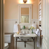 John B Murray Architect - bathrooms - mosaic, marble, hex, tiles, floor, gold, decorative, inset, border, tiles, 2 leg, marble, washstand, white, inset, medicine cabinet, pencil rail, subway tiles, backsplash, vintage, glass, shelf, built-ins,
