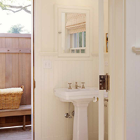 John B Murray Architect - bathrooms - ivory, walls, chair rail, beadboard, white, pedestal, sink, inset, medicine, cabinet, double sconces,