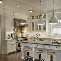 John B Murray Architect - kitchens - beadboard, ceiling, white, beadboard, kitchen island, turned legs, soapstone, countertops, sink in kitchen island, vintage, industrial, counter stools, white, kitchen cabinets, marble countertops, pot filler, modern, white, kitchen pendants, beadboard cabinets, white beadboard cabinets, beadboard kitchen cabinets, beadboard kitchen island, white beadboard kitchen island, beadboard island,