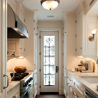 John B Murray Architect - kitchens - gallery, white, sheers, cafe, curtains, white, kitchen cabinets, marble, countertops, backsplash, pot filler, galley kitchen, cream galley kitchen, traditional galley kitchen, galley kitchen design, galley kitchen cabinets, cream galley cabinets, cream galley kitchen cabinets,