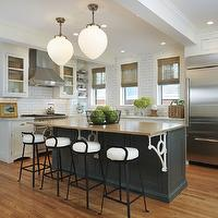 Taste Interior Design - kitchens - two-tone, gray, blue, kitchen island, butcher block, countertop, white, glass-front, kitchen cabinets, subway tiles, backsplash, iron, counter stools, pendants, bamboo, roman shades,