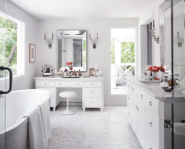 Beveled Mirror - Transitional - bathroom - Martensen Jones Interiors