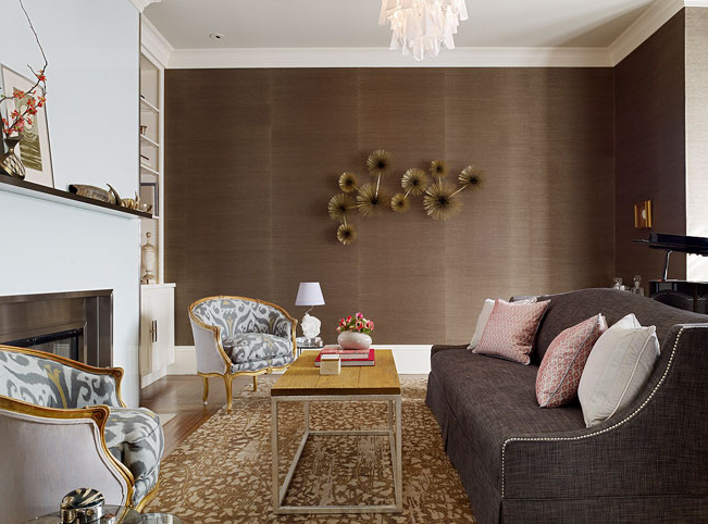 Camelback sofa contemporary living room redmond for Chocolate brown living room ideas