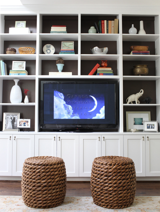 Built In Cabinets Transitional Living Room Capella