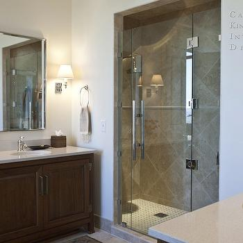 Capella Kincheloe Interior Design - bathrooms - frameless glass shower, travertine, tiles, shower, surround, extra-wide, single, bathroom vanities, cabinets, cream, quartz, countertops, mirrors, travertine tiles, travertine tiled shower, travertine shower surround,