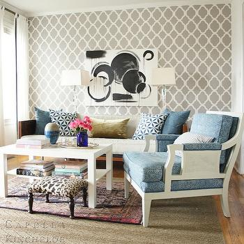 Quatrefoil Wallpaper, Contemporary, living room, Capella Kincheloe Interior Design