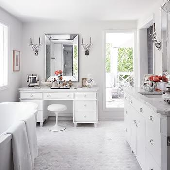 Martensen Jones Interiors - bathrooms - gray, walls, beveled, mirrors, freestanding, tub, marble, mosaic, hex, tiles, floor, white, vanity, marble, countertop, extra-wide, white, bathroom cabinet, marble, countertop, beveled mirror, beveled bathroom mirror,